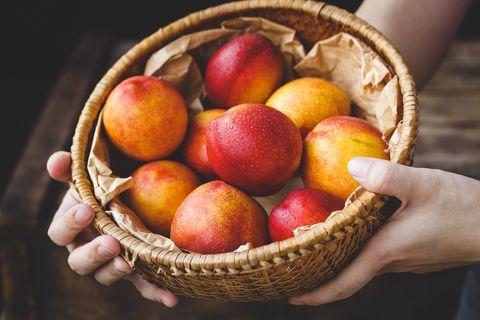 Food, European plum, Fruit, Peach, Natural foods, Nectarines, Nectarine, Basket, Plant, Apple,