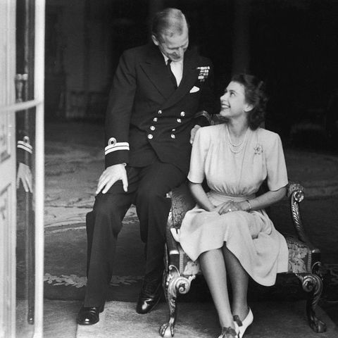 princess elizabeth later queen elizabeth ii and her fiance, philip mountbatten at buckingham palace, after their engagement was announced, 10th july 1947 photo by topical press agencyhulton archivegetty images