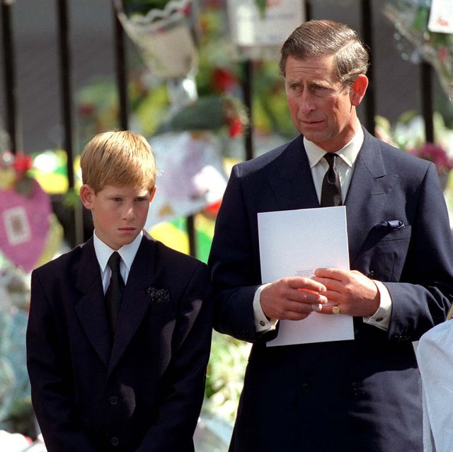 london   september 6  the prince of wales with prince william and prince harry outside westminster abbey at the funeral of diana, the princess of wales on september 6, 1997 photo by anwar husseinwireimage