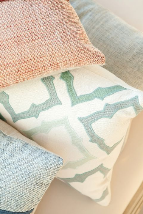 Turquoise, Textile, Linens, Bedding, Pillow, Furniture, Bed sheet, Pattern, Room, Cushion,