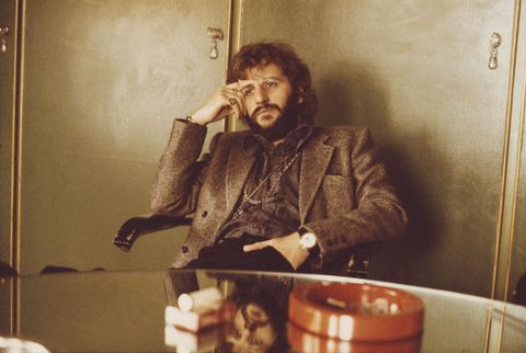 english musician, actor and former beatles drummer, ringo starr pictured sitting in an office in london on 22nd october 1973 photo by michael putlandgetty images