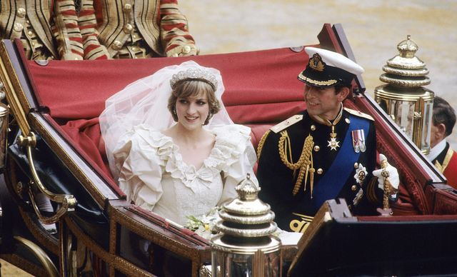 london, england   july 29 prince charles, prince of wales and diana, princess of wales, wearing a wedding dress designed by david and elizabeth emanuel and the spencer family tiara, ride in an open carriage, from st pauls cathedral to buckingham palace, following their wedding on july 29, 1981 in london, england   photo by anwar husseinwireimage