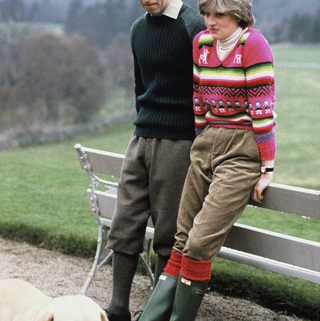 balmoral, scotland   may 06 prince charles, prince of wales and his fiance lady diana spencer, wearing an inca jersey jumper with green corduroy trousers and hunter wellies, pose for a photocall with their dog harvey at the estate at craigowen lodge, ahead of their july 29, 1981 wedding, on may 6, 1981 in balmoral, scotland photo by anwar husseinwireimage