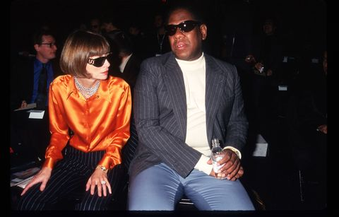 284466 01 vogue magazine editor anna wintour and andre leon tilley attend the 7th on sixth fashion show october 30, 1996 in new york city the 7th on sixth fashion show is held to preview the collections of the worlds most prestigious designers, including donna karan, calvin klein, ralph lauren, nicole miller, and others photo by evan agostiniliaison