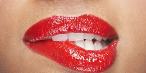 Lip, Red, Mouth, Lipstick, Skin, Cheek, Chin, Beauty, Close-up, Lip gloss,