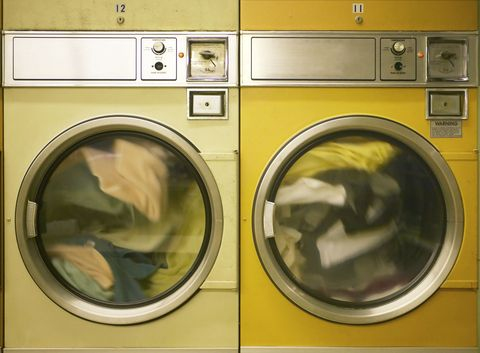 Washing machine, Laundry, Clothes dryer, Major appliance, Home appliance, Washing, Yellow, Circle,