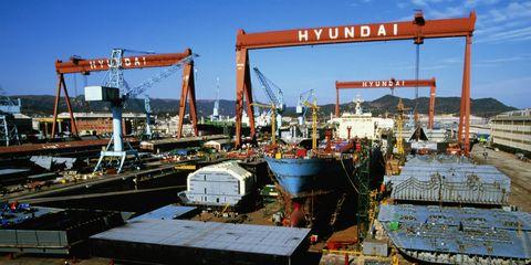Korea, Ulsan, Hyundai shipyard, elevated view