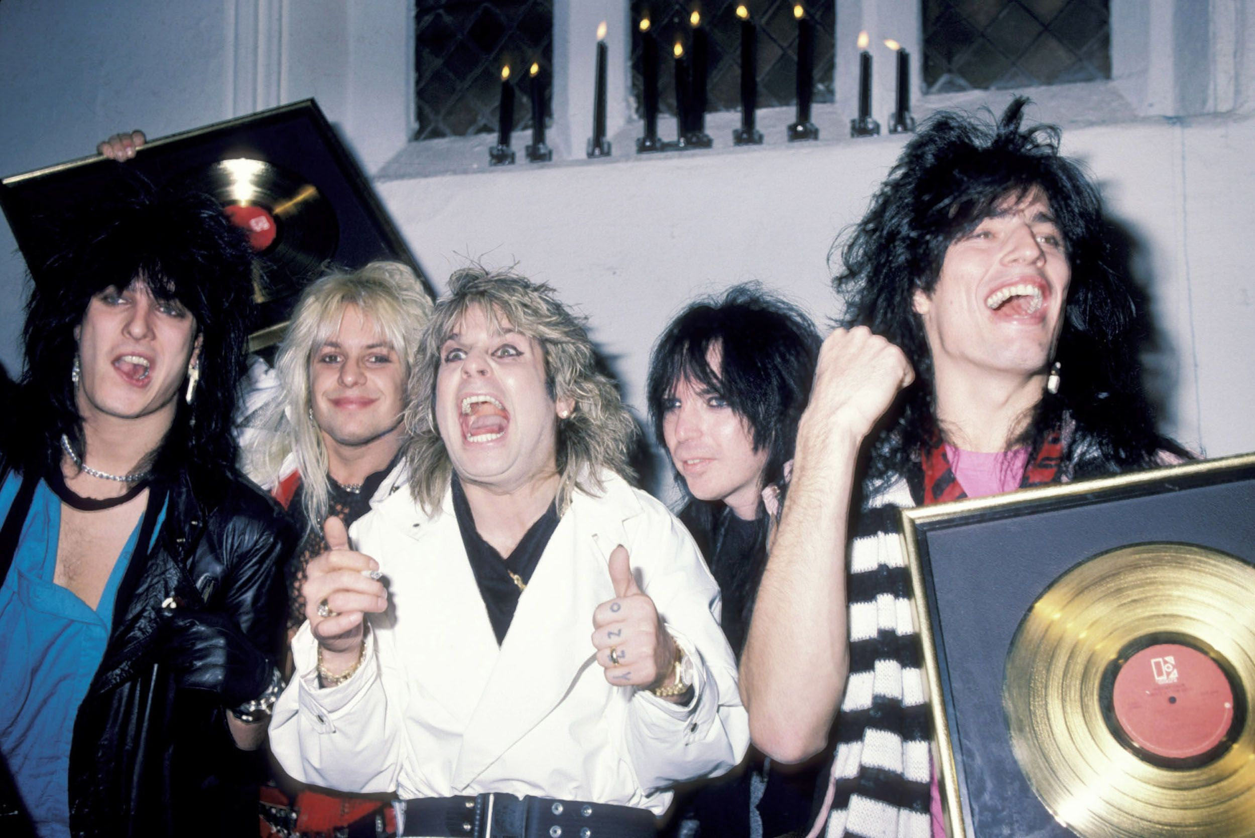 Ozzy Osbourne and Mötley Crüe at the Ozzy Osbourne Concert After-Party at Peter Gatien's Limelight Entertainment Complex in NYC in 1984.