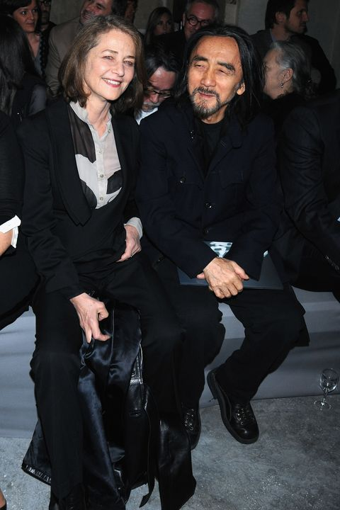 paris   january 22  charlotte rampling and yohji yamamoto attend givenchy fashion show, during paris fashion week haute couture spring summer 2008 at couvent des cordelliers on january 22, 2008 in paris, france  photo by dominique charriauwireimage