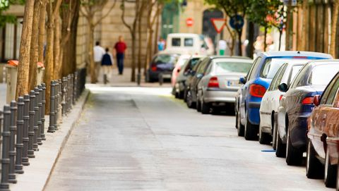 Cars parked on a street, Madrid, Spain