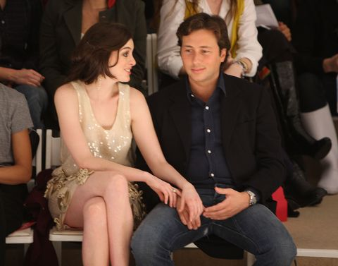 new york   february 01  actress anne hathaway and raffaello follieri attends the erin fetherston fall 2008 fashion show during mercedes benz fashion week fall 2008 at the promenade at bryant park on february 1, 2008 in new york city  photo by stephen lovekingetty images for img