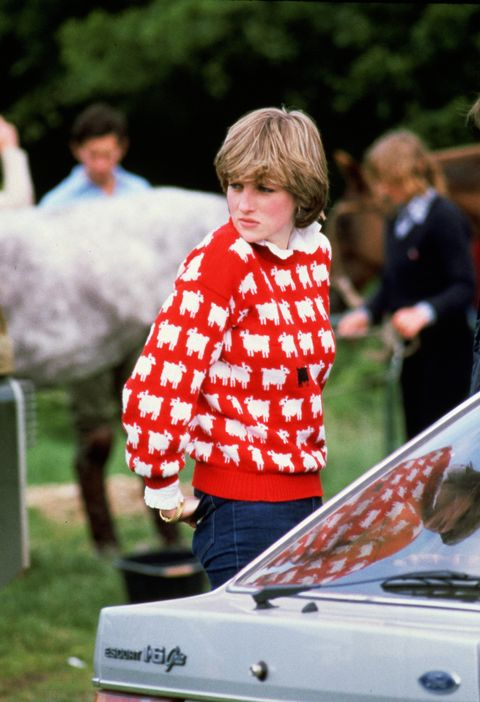 diana, princess of wales 1961   1997 wearing black sheep wool jumper by warm and wonderful muir  osborne to windsor polo, june 1981 photo by tim graham photo library via getty images