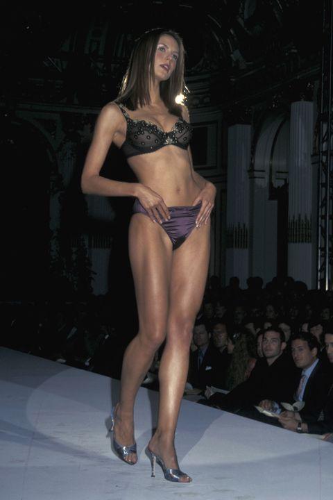 Fashion model, Clothing, Fashion, Lingerie, Fashion show, Bikini, Model, Runway, Thigh, Beauty,