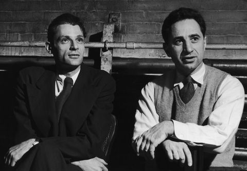 american playwright arthur miller 1915   2005, left with director elia kazan 1909   2003, circa 1955 photo by fpghulton archivegetty images