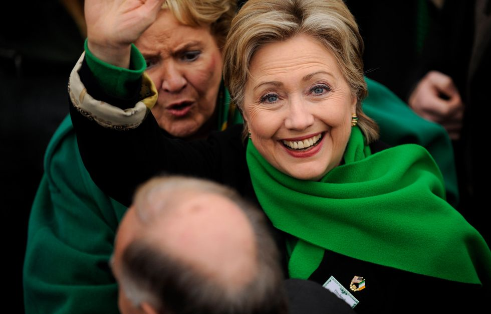 Hillary Clinton attending a St. Patrick's Day Parade on March 15, 2008 in Pittsburgh, Pennsylvania.