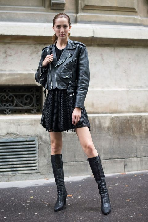 Clothing, Street fashion, Leather, Fashion, Knee-high boot, Footwear, Jacket, Leather jacket, Knee, Boot,