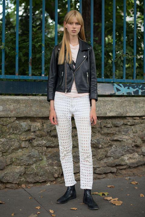 Clothing, White, Street fashion, Jeans, Fashion, Jacket, Snapshot, Denim, Trousers, Footwear,
