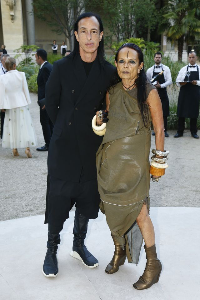 paris, france   july 02  l r rick owens and michele lamy attend the amfar paris dinner 2017 at le petit palais on july 2, 2017 in paris, france   photo by julien m hekimiangetty images for amfar
