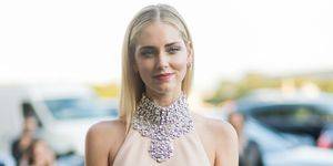 Chiara Ferragni in cream dress with diamonte choker
