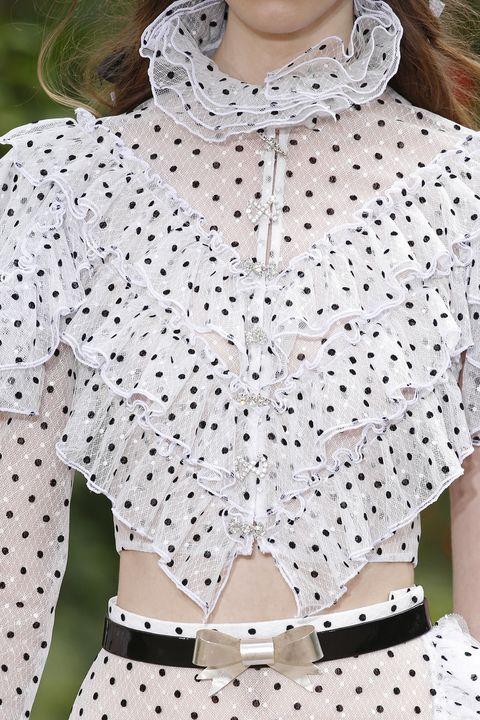 White, Clothing, Pattern, Polka dot, Design, Sleeve, Fashion, Blouse, Collar, Outerwear,
