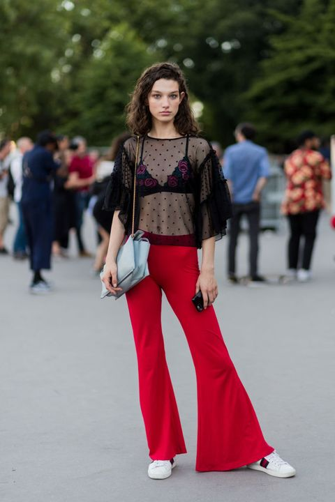 Clothing, Street fashion, Fashion, Jeans, Pink, Fashion model, Waist, Footwear, Trousers, Haute couture,