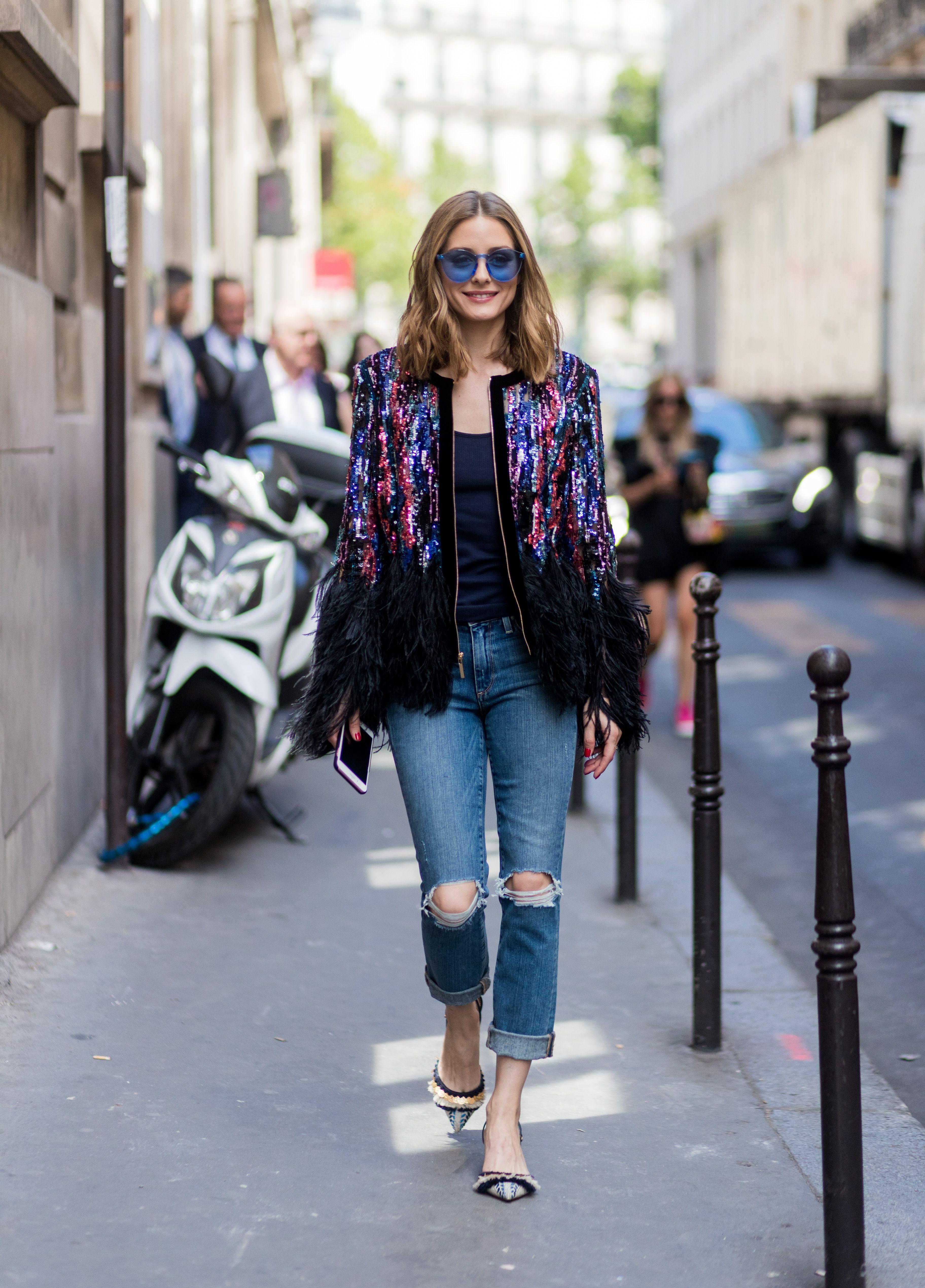 Olivia Palermo paris wearing sequin blazer glitter shoes
