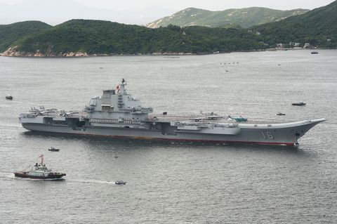 The Chinese aircraft carrier Liaoning passes the summit of Lamma Island upon arrival in Hong Kong on July 7, 2017, the Chinese Ministry of National Defense said that the Liaoning, named after a northeastern province from china, was part of a flotilla on a routine training mission and would make a port of call in the former british colony afp photo richard a brooks photo credit should read richard a brooksafp via getty images