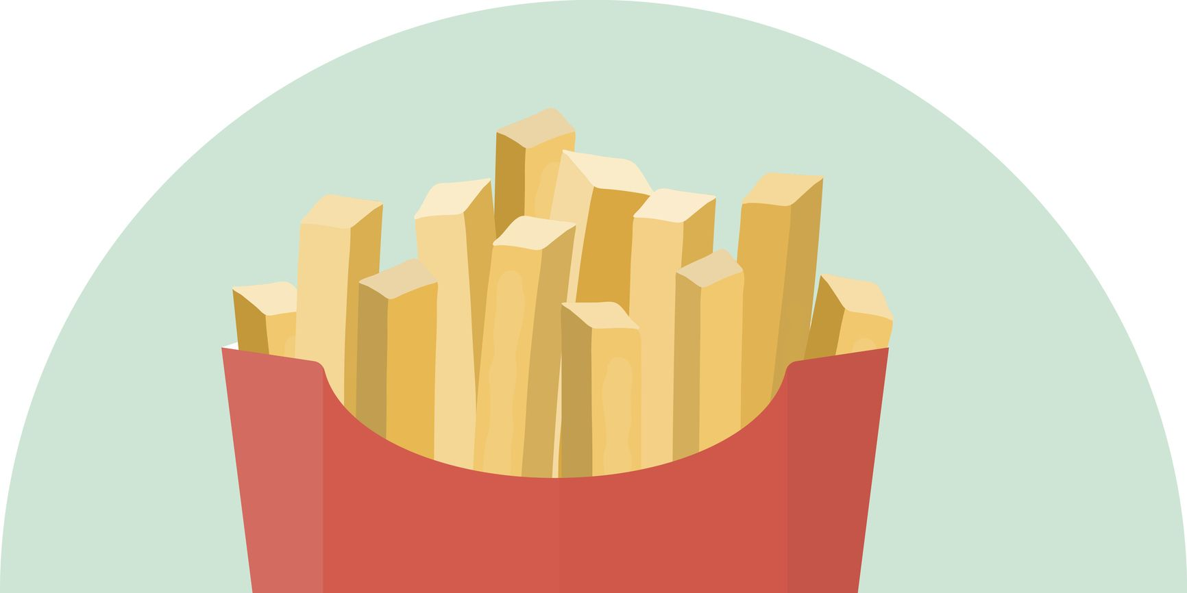 Flat vector french fries potato in red box with ketchup and mustard sauce in dipping dish