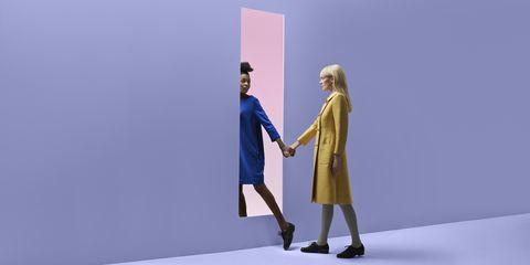 Blue, Yellow, Standing, Fashion, Fashion design, Electric blue, Dress, Gesture, Art, Animation,