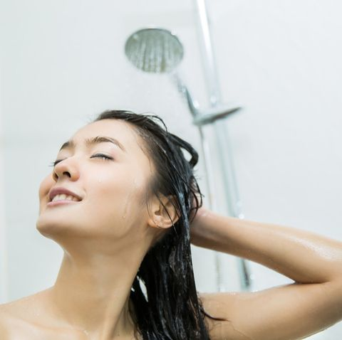 asian women are shower she is happy
