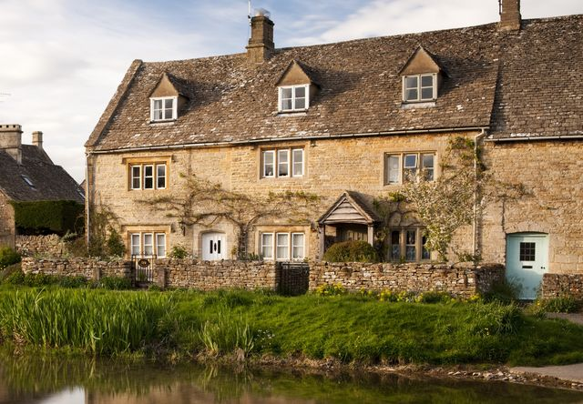 the scenic village of lower slaughter in the cotswolds, gloucestershire