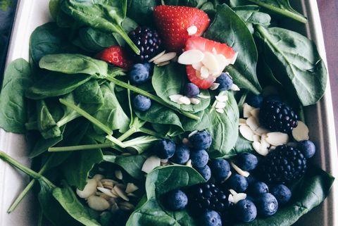 Spinach Strawberries Blueberries