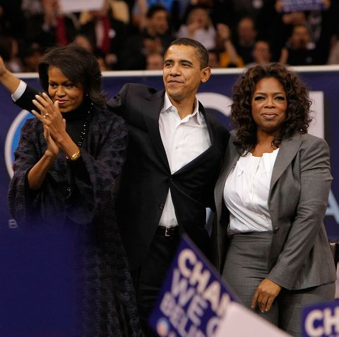 manchester, nh   december 09  presidential candidate barack obama center is joined by special guest oprah winfrey right and his wife michelle obama during a rally held at the verizon wireless arena in manchester, new hampshire on december 9, 2007 in new york city  photo by jemal countesswireimage