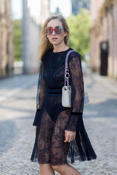Clothing, Street fashion, Black, Fashion, Eyewear, Dress, Footwear, Leather, Snapshot, Sunglasses,