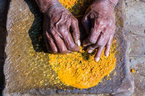 Yellow, Hand, Turmeric, Plant, Soil, Cuisine,