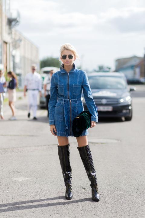 Blue, Street fashion, Photograph, Denim, Clothing, Fashion, Boot, Footwear, Cobalt blue, Electric blue,