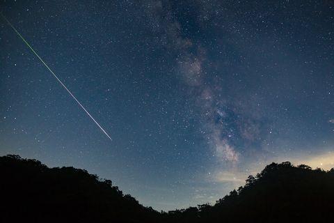 una meteora attraversa il cielo notturno, lasciando una scia di luce attraverso la Via Lattea