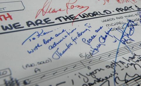close up oloist booth song sheet used for the 1985 recording of 'we are the world', individually signed by the artists involved, including lionel richie, willie nelson and diana ross, which is expected to fetch between 5,000 and 6,000 when it goes under the hammer later this year, auctioned by the fame bureau at the idea generation gallery in london   photo by clive gee   pa imagespa images via getty images