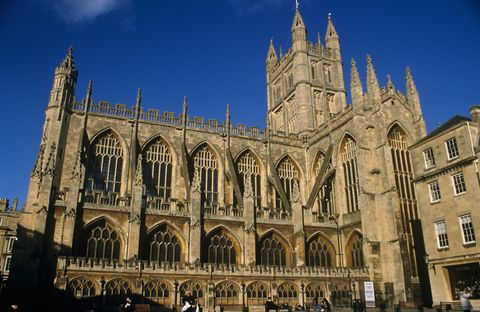 the abbey church of saint peter is commonly known as bath abbey it was founded in 7th century, and has had a religious foundation on the site ever since then, and the building as it currently stands was completed in the 1860