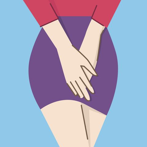 vector illustration character of close up woman body,  holding hands on her crotch, concept in honeymoons cystitis flat design, with linear style