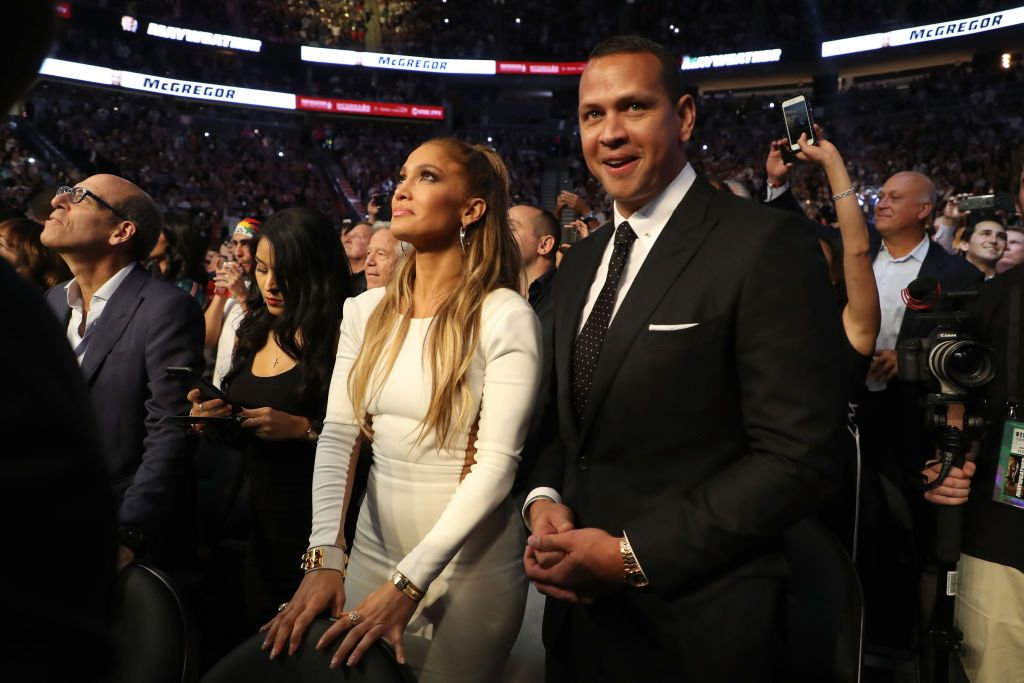 Actress Jennifer Lopez and former MLB player Alex Rodriguez attend the super welterweight boxing match between Floyd Mayweather Jr. and Conor McGregor on August 26, 2017 at T-Mobile Arena in Las Vegas, Nevada