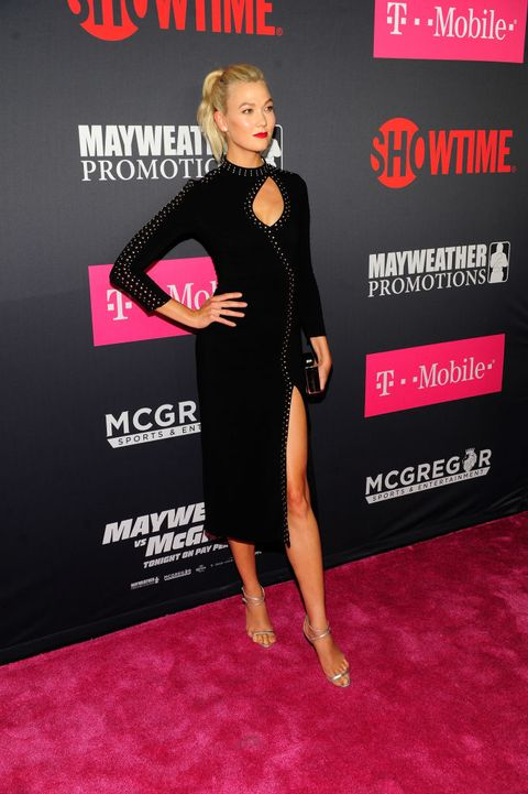 Model Karlie Kloss attends the VIP party before the boxing match between boxer Floyd Mayweather Jr. and Conor McGregor at T-Mobile Arena on August 26, 2017 in Las Vegas, Nevada. (Photo by Steven Lawton/Getty Images)
