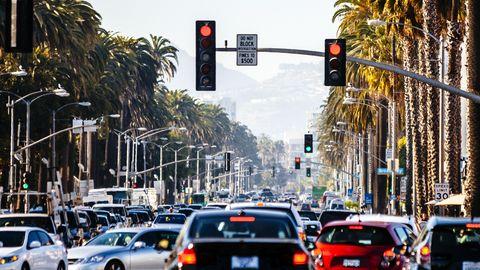 Santa Monica traffic, California