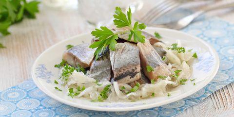 Dish, Cuisine, Food, Ingredient, Produce, Recipe, Meat, Soused herring, Parsley, Garnish,
