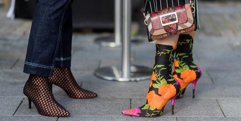 Street fashion, Footwear, Fashion, High heels, Leg, Shoe, Pink, Human leg, Yellow, Joint,