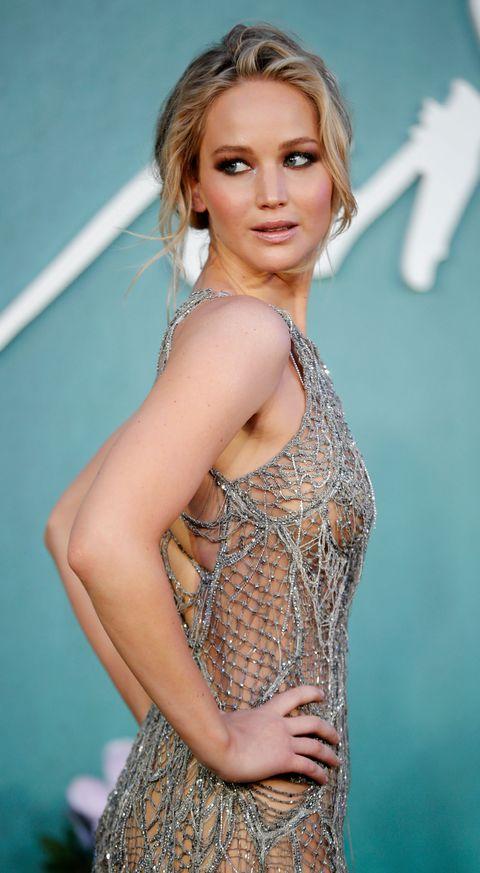 Naked fishnet dress Jennifer Lawrence In Atelier Versace Silver Fish Net Like Dress At London Mother Premiere J Law Red Carpet Style