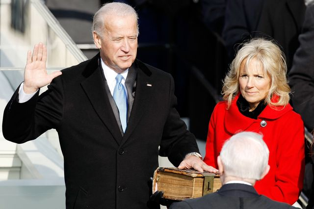 washington   january 20  vice president elect joseph r biden is sworn in by supreme court justice john paul stevens during the inauguration of barack obama as the 44th president of the united states of america on the west front of the capitol january 20, 2009 in washington, dc obama becomes the first african american to be elected to the office of president in the history of the united states  photo by chip somodevillagetty images