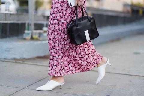Pink, Street fashion, Clothing, Shoulder, Fashion, Snapshot, Joint, Footwear, Pattern, Bag,