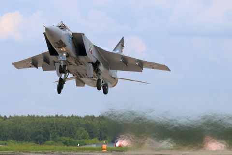 Mikoyan Gurevich MiG-31BM RF-92379 jet fighter takes off at Kubinka air force base.