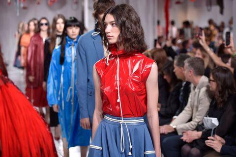 Fashion, Fashion model, Red, Clothing, Runway, Blue, Fashion show, Electric blue, Cobalt blue, Haute couture,